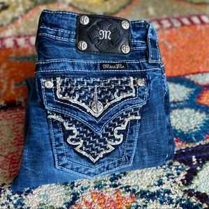 Miss Me Signature Rhinestone Bootcut Jeans